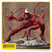 Here comes one of Marvel Comics' greatest villains of all time - Carnage! The resin Spider-Man Maximum Carnage 1:6 Scale Fine Art Statue is expertly carved by master sculptor Erick Sosa to show Carnage's rippling musculature and tendrils in full detail! Standing just over 9-inches tall, interchangeable arm parts are included for the option of displaying either his wicked claws or his notorious spiked weapon. Cletus Kasady is looking as crazy as ever and is looking to bring Carnage to your collection! 9 inch tall