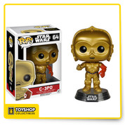 From Star Wars: Episode VII - The Force Awakens comes everyone's favorite protocol droid, C-3PO, as a Pop! Vinyl Figure! A fastidious and worry prone protocol droid, C-3PO longs for more peaceful times, but his continued service to Princess Leia keeps him in the frontlines of galactic conflict. The Force Awakens C-3PO features C-3PO with his red left arm. The Star Wars Ep. 7 Force Awakens C-3PO Pop! Vinyl Bobble Head stands 3 3/4-inches tall and comes on a decorative Star Wars stand! Ages 3 and up.