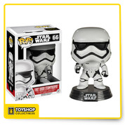 From Star Wars: Episode VII - The Force Awakens comes the First Order Stormtrooper as a Pop! Vinyl Figure! Equipped with sleek armor and powerful weapons, the Stormtroopers enforce the will of the First Order. This First Order Stormtrooper Pop! Vinyl Bobble Head measures 3 3/4-inches tall and comes with a decorative Star Wars stand.