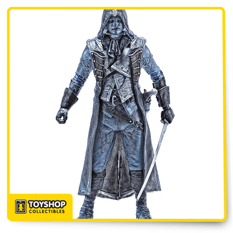 """As the lead assassin in Assassin's Creed Unity, Arno Dorian always needs to be prepared for every combat situation! Equipped with an outfit designed by artist Todd McFarlane, Arno is ready for anything the French Revolution can throw at him! When danger hides behind every corner in the Parisian streets, Assassin Arno Dorian has a unique advantage over each opponent he fights. Blessed with a rare sixth sense, Arno is able to pinpoint even the most cunning enemies with his """"Eagle Vision"""" ability!  Arno is equipped with a pistol, French sword, and stands about 6-inches tall. Ages 8 and up."""
