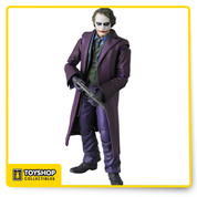 "From MEDICOM Toy Company.  Standing just over 6"" H, this chilling reproduction of the sinister master criminal from The Dark Knight includes alternate heads and hands, plus a full arsenal of weapons to recreate many of his signature moments from the film!"