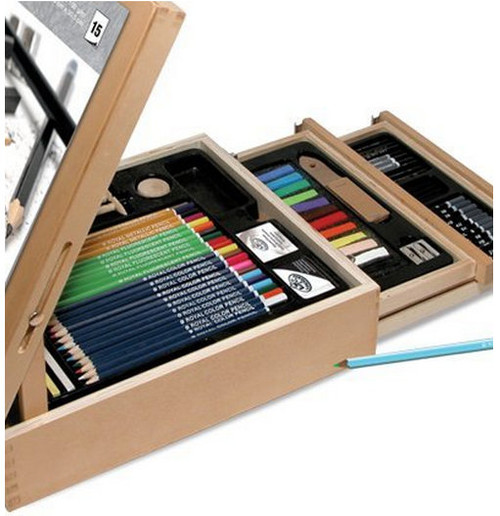 Royal & Langnickel 124-Piece Sketching and Drawing Easel Artist Set close up of pencils