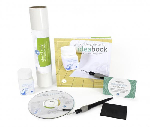 Silhouette glass etching starter kit contents