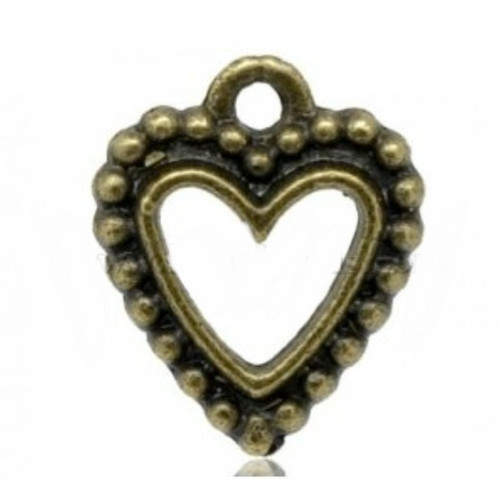 Pendant Love Heart Antique Bronze 3 pieces