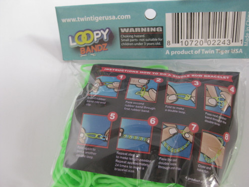 Loopy Bandz - 300 bright green silicone bands - back of package