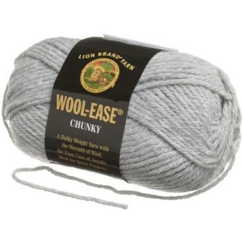 Lion Brand Yarn Wool-Ease Chunky Yarn, Silver Grey