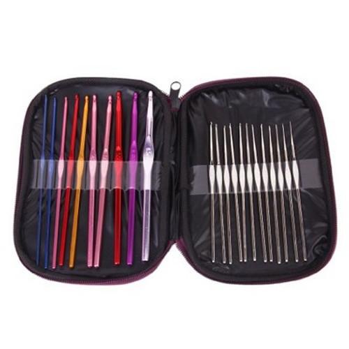 22pcs Multicolor Aluminum Crochet Hooks Knitting Needles Set with Case
