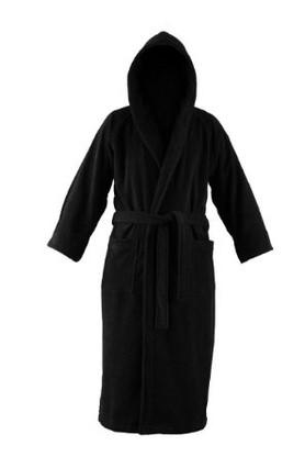 Black hooded bathrobe
