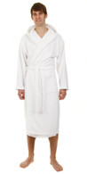 White hooded bathrobe
