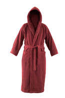 Burgundy hooded bathrobe