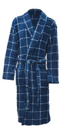 Blue and white check fleece dressing gown