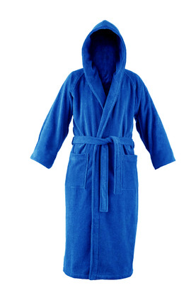 blue hooded bathrobe
