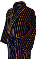 Bown of London - Velour Dressing Gown - Black with Bright Multi-coloured Stripes (Mozart)