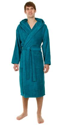 Harbour blue hooded bathrobe
