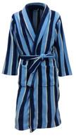 Men's Warm Fleece Dressing Gown - Blue Striped