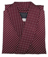 Wine red polka dot silk dressing gown