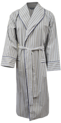 Olive green and navy stripe dressing gown