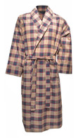 Men's Brushed Cotton Dressing Gown - Navy & Beige Plaid