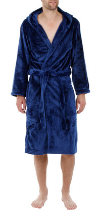 Navy velour fleece hooded bathrobe