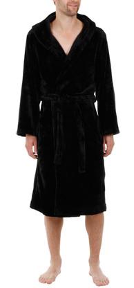 Black velour fleece hooded bathrobe