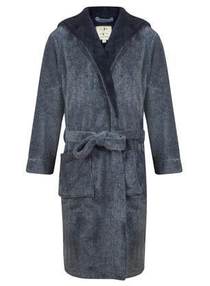 Navy marl bathrobe by John Christian