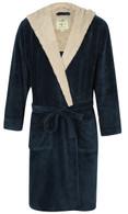 Men's Cosy Hooded Fleece Dressing Gown – Blue Marl / Light Grey