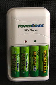 Nickel Zinc Batteries - AA 1.6 volt Rechargeable (pack of four) and Fast (one hour) Charger