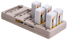 Maha 10 cell smart charger for 9 volt NiMH - charge 7.2V, 8.4V 9.6V