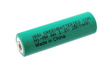 Greenbatteries brand NiMH AA 2500mAh rechargeable battery
