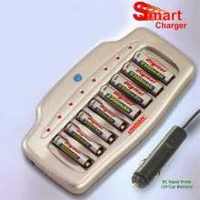 8-Cell AA/AAA NiMH Smart Battery Charger with discharge/conditioning and DC adapter