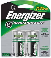 Energizer Rechargeable NiMH batteries, Size C, 2 pack