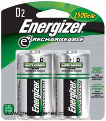 Energizer Rechargeable NiMH batteries, Size D, 2 pack