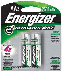 Energizer Rechargeable NiMH batteries, Size AA, 2 pack - 2300 mAh
