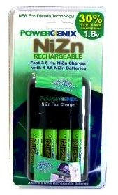 PowerGenix NiZn (Nickel-Zinc) 4 Position 3-5 Hour Fast Charger and 4 NiZN rechargeable batteries