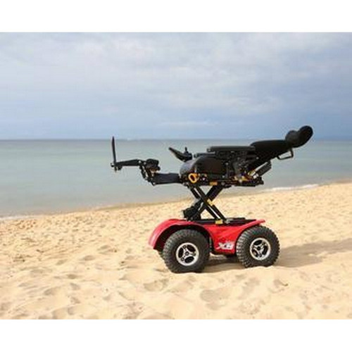 X8 4X4 Extreme All-Terrain Electric Power Wheelchair at beach elevated