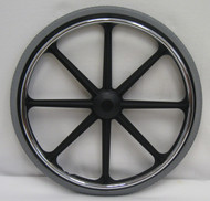 "24X 1 3/8"" Mag Wheel (8 spoke). Rear wheels w/ urethane tire"