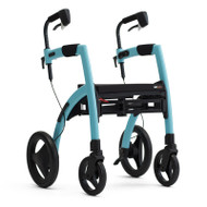 Rollz Motion2 - Rollator and Transport Chair in One - Island Blue - from side