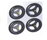 TOPRO Wheels PUR (for IBS) Comfort wheel Soft Complete set of 4 # 814648 - Walking Aid Parts