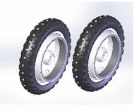 TOPRO OLYMPOS Studded Wheels Pair of rear wheels 814671 - Walking Aid Parts