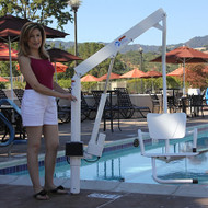 LifeGuard - Power Pool Lift - HOME USE - handicap pool lift with a Solid ADA Chair & Anchor #100251
