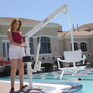 LifeGuard - Power Pool Lift - HOME USE - handicap pool lift with a Solid ADA Chair & Surface Mount Anchor #100253