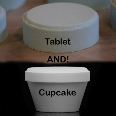 Produce both a tablet shaped bath fizzy and a cupcake shaped bath fizzy to sell!