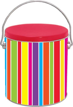 1 Gallon Colorful Stripes Tin