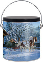 1 Gallon Winter Sleigh Ride Popcorn Tin