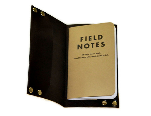 Hammer Riveted Leather Field Notes Journal Cover, vegetable tanned full grain leather, American made by American Bench Craft in Boston MA