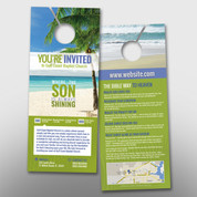 """You're Invited"" Tropical-Themed Door Hanger (small) #14209"
