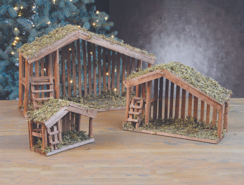 """Stables come in three sizes, Moss covered roofs. Dimensions ~ Medium: 11""""H x 16L x 6.25D or   Large: 15.50""""H x 24""""L x 7.25""""D Small: 7""""H x 8""""W x 4""""D"""