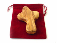 "Olive Wood Palm Pocket Cross,  2"" High In Red Velvet Pouch"