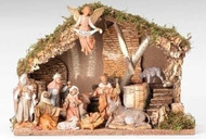 "Fontanini 11 Piece Nativity Set including an Italian Stable.  Dimensions of Stable: 11.5H X 16.75""L X 8.5""D. Materials: Wood, Moss, Bark, & Polymer"