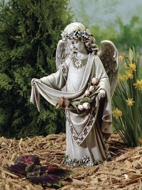 "Garden Angel Collection ~ Angel With Birds, Child Angel Statue With Birds. Dimensions: 16.5""H 9.25""W x  7""D. Stone / Resin Mix"